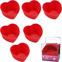 Набор силиконовых форм для выпечки и желе Сердечко 6 шт.,6,5х3 см