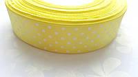Атласная лента Желтая в горошек 2.5 см 1 м