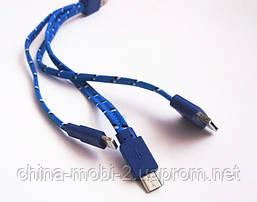 Кабель-переходник с USB на iPhone 4/5/6 и Samsung Galaxy - плоский тканьевый, фото 3