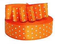 Атласная лента Оранжевая в горошек 2.5 см 1 м
