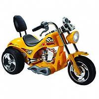 Мотоцикл для детей Харлей со спинкой 6691 желтый