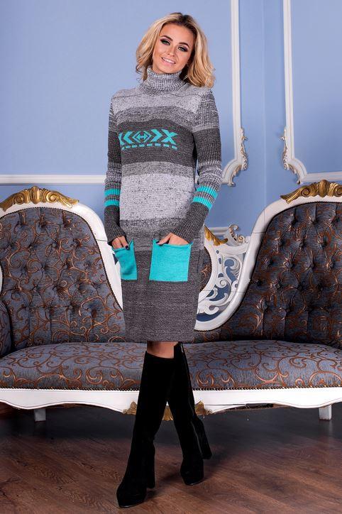 В'язана жіноча сукня Муліне, графіт + м'ята