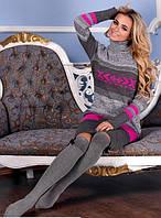 Вязаное женское платье Мулине, графит + малина, фото 1