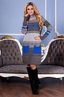 Вязаное женское платье Мулине, графит + электрик, фото 1