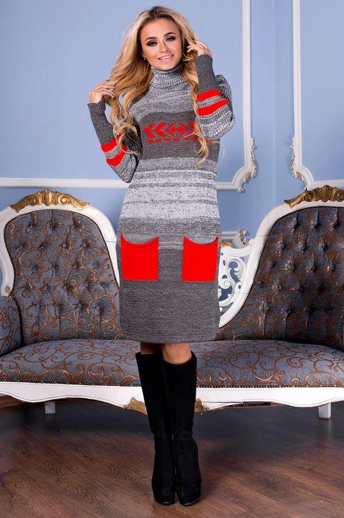 В'язана жіноча сукня Муліне, графіт + червоний