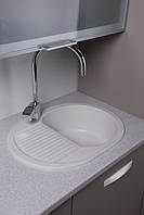 Кухонная мойка из гранита 62 см Fancy Marble Yuta белая