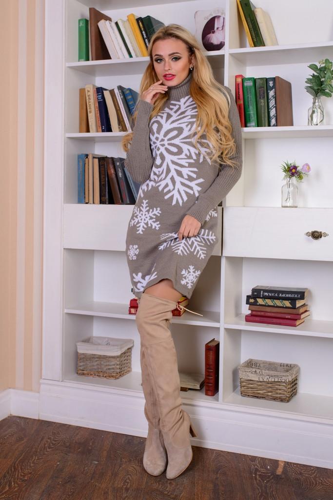 В'язана жіноча сукня Сніжинка, капучіно