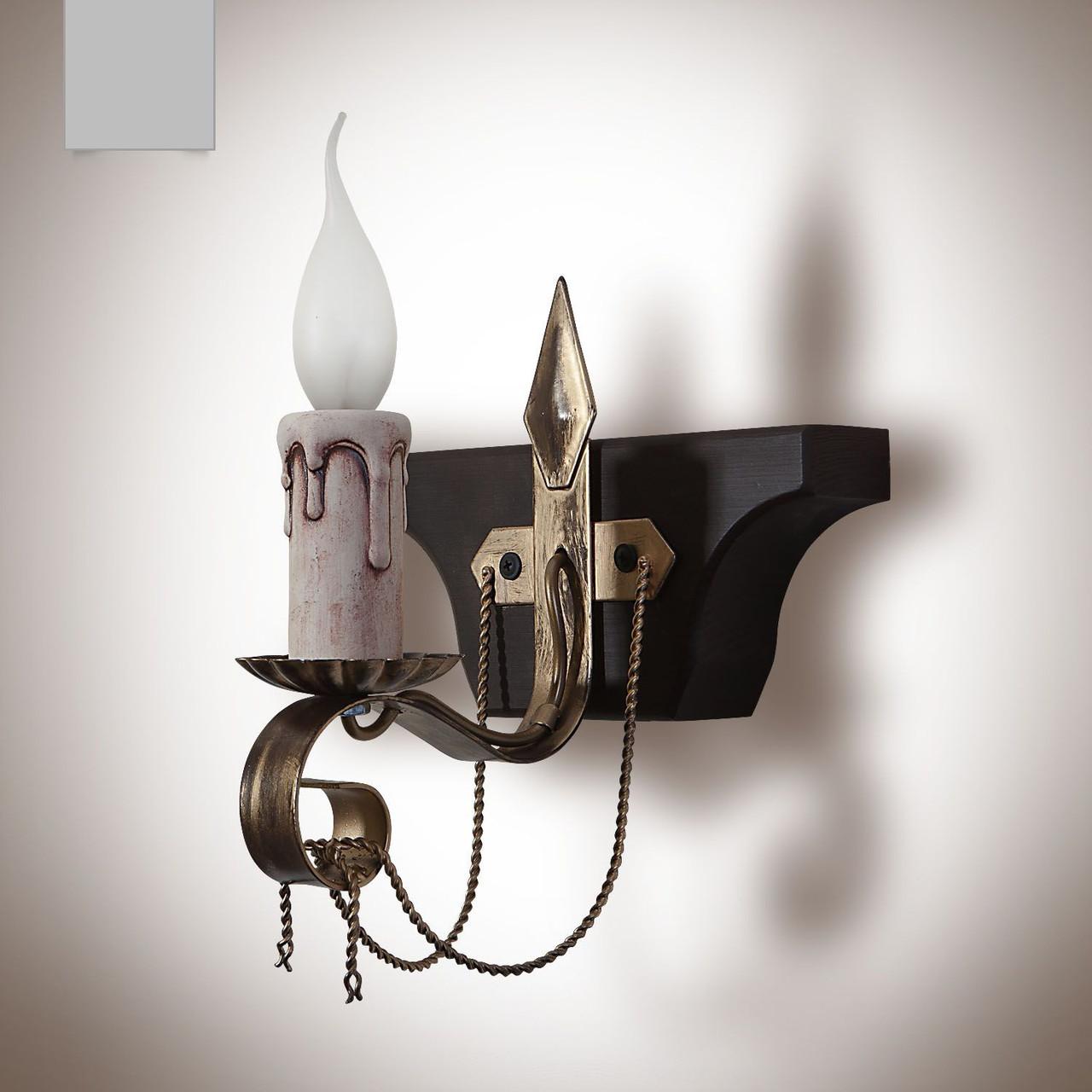 Бра деревянное со свечами, трактир 1 ламповое 30001