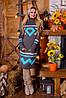 Вязаная женская туника, платье Диамант, графит + мята