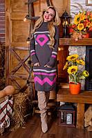 Вязаная женская туника, платье Диамант, графит + розовый, фото 1