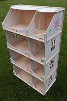 Кукольный домик-шкаф с росписью (белый), HEGA
