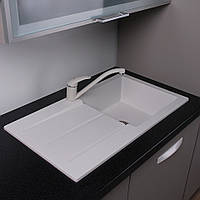 Гранитная мойка для кухни с крылом 77 см Fancy Marble Tennessee белая