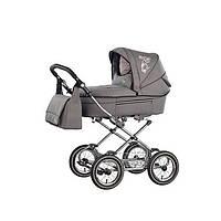 """детская коляска 2 в 1 классическая Roan Rialto R15, колеса 12"""", серая ткань (розовая подкладка)"""
