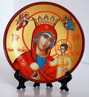 """Тарелка декоративная """"Святые"""" византийский стиль, маленькая, с подставкой."""