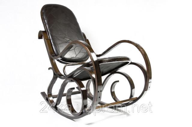 Кресло-качалка PBT Group темно-ореховое кожаное