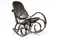 Кресло-качалка темно-ореховое кожаное