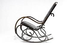 Кресло-качалка PBT Group темно-ореховое кожаное, фото 3