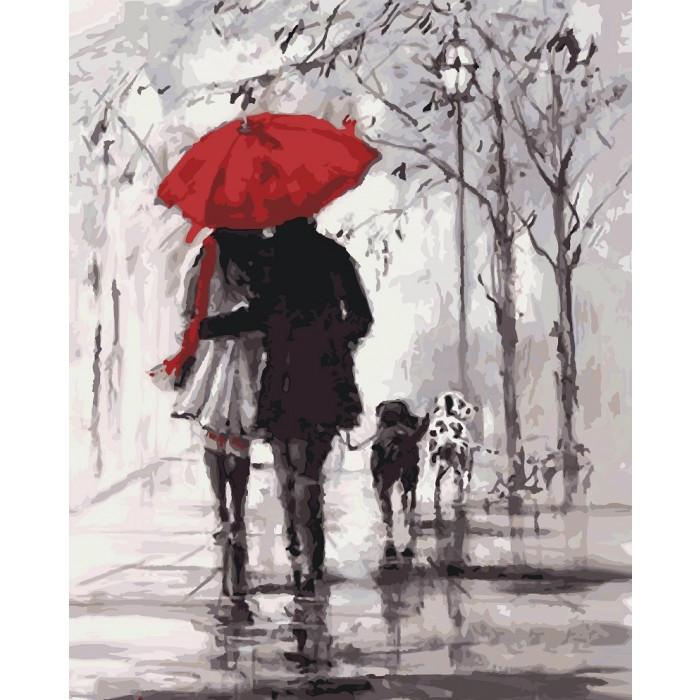 Картина по номерам Пара под красным зонтом KHO2620 Идейка