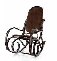 Кресло-качалка темно-ореховое меховое