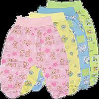 Ползунки цветные на евро резинке (еврики), закрытая ножка, кулир (тонкий хлопок), рост 56-86 см, ТМ ALEX