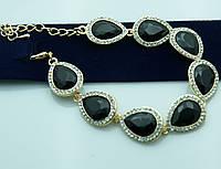 Нарядный браслет с чёрными кристаллами в стразах. Новогодняя бижутерия оптом недорого. 960