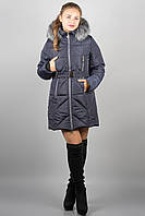 Зимняя куртка Дорри (синяя серый мех)(р.44-54)