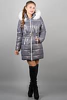 Зимняя куртка Дорри (серая белый мех)(р.44-54)