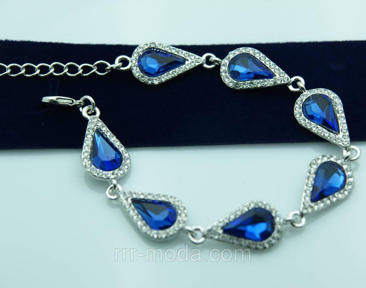 Синий кристальный браслет на вечер. Шикарная бижутерия оптом недорого. 970