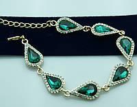 Зелёный кристальный браслет под золото. Шикарные украшения оптом недорого. 973