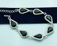 Чёрный кристальный браслет на вечер. Шикарные украшения от Бижутерии оптом RRR. 975