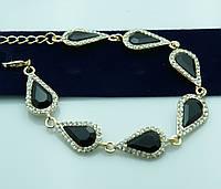 Чёрный кристальный браслет в стразах. Женские украшения от Бижутерии оптом RRR. 976