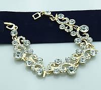 Королевский фигурный браслет в кристаллах. Эксклюзивная бижутерия оптом. 983