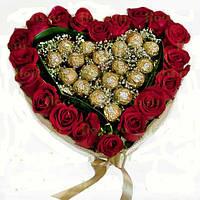 """Сердечко из красных роз и конфет """"Ferrero Rocher """""""