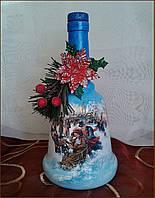 """Новогоднее оформление бутылки """"Колокольчик"""" Подарок на новый год 2018"""