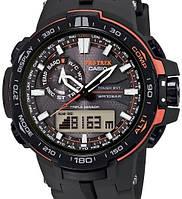 Наручные часы Casio Pro Trek PRW6000 (черные с белым), мужские, электронные, спортивные часы