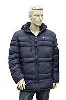 Мужская зимняя  куртка columbia с капюшоном очень теплая синяя
