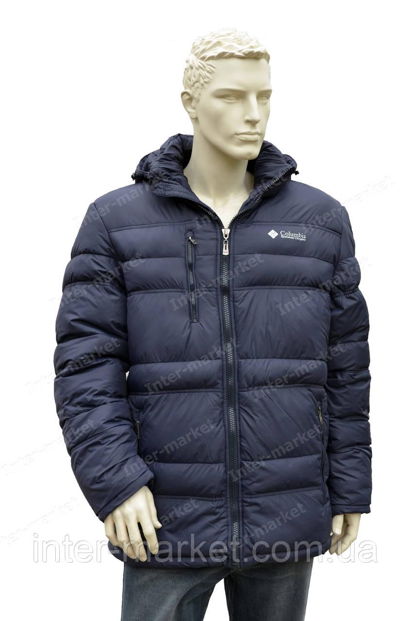 86a435bda40e Мужская зимняя куртка в стиле columbia с капюшоном очень теплая синяя -  интернет магазин