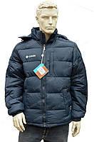 Мужская зимняя куртка  в стиле columbia зима  стиль 2016/2017 холлофайбер  синяя