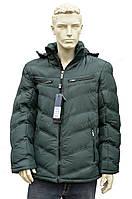 Мужская модная зимняя куртка с капюшоном очень теплая зеленая