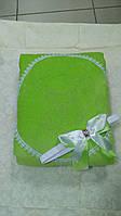 Теплый конверт-одеяло на выписку Lari Велюр махра. зелены