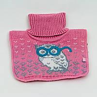 Розовая манишка с совой для девочки 3-6 лет