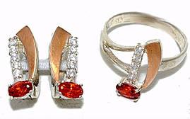 Серебряные женские наборы с цирконием . Серьги +кольцо. Есть 16.5 р.