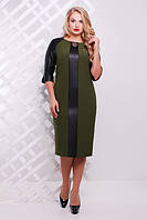 Платье женское Монро оливка экокожа (50-58)
