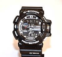 Многофункциональные часы CASIO G-SHOCK PROTECTION (черные с белым), кварцевые, мужские, спортивные, наручные