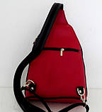 Стильная сумка-рюкзак женская кожаная. Красный с черным. Италия , фото 3