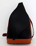 Стильная сумка-рюкзак женская кожаная. Красный с черным. Италия , фото 9