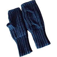 Вязаные рукавички - митенки темно - синего цвета