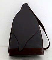 Стильная сумка-рюкзак женская кожаная. Серый с коричневым. Италия