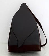 Стильная сумка-рюкзак женская кожаная. Серый с коричневым. Италия , фото 1