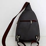 Стильная сумка-рюкзак женская кожаная. Серый с коричневым. Италия , фото 2